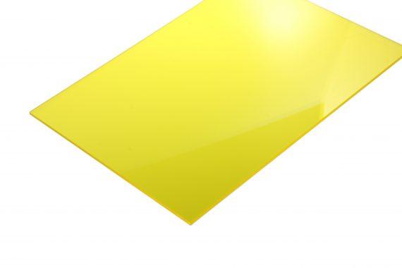 Acrylaat transparant glans geel 3 mm