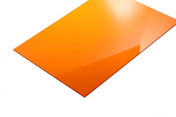 Acrylaat transparant glans oranje 3 mm