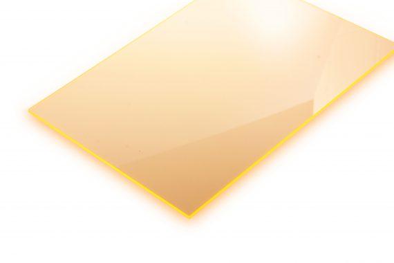 Acrylaat transparant glans fluor geel 3 mm